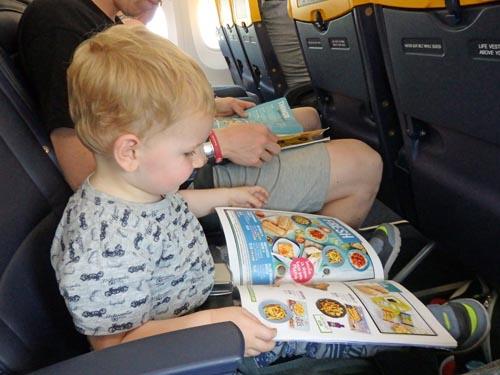 Reading the in-flight magazine!