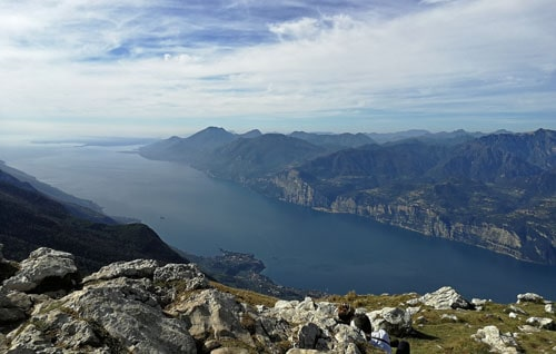 View of Lake Garda from the top of Monte Baldo