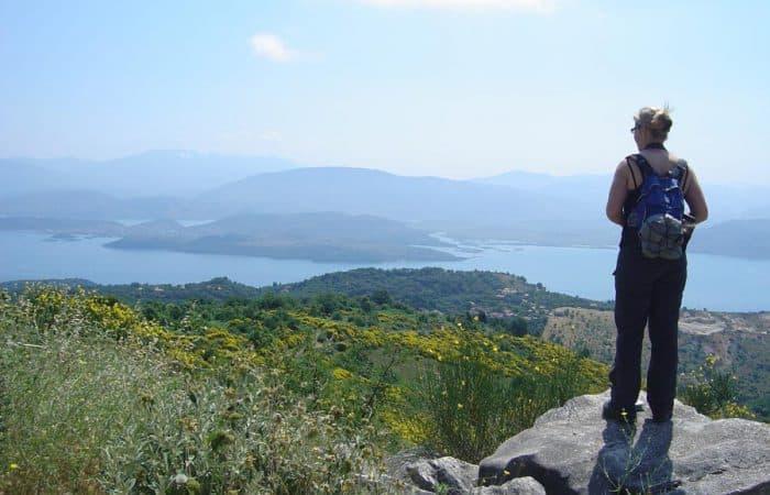 Hiker looking at sea view