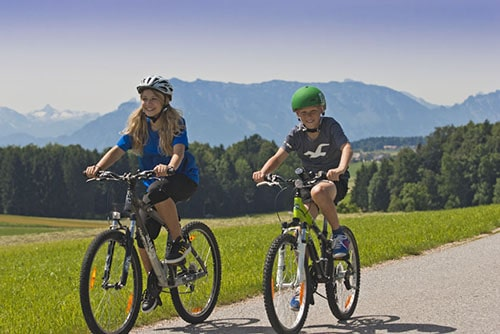family cycling in Austria