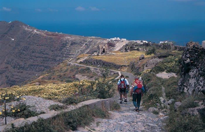 hikers on Santorini